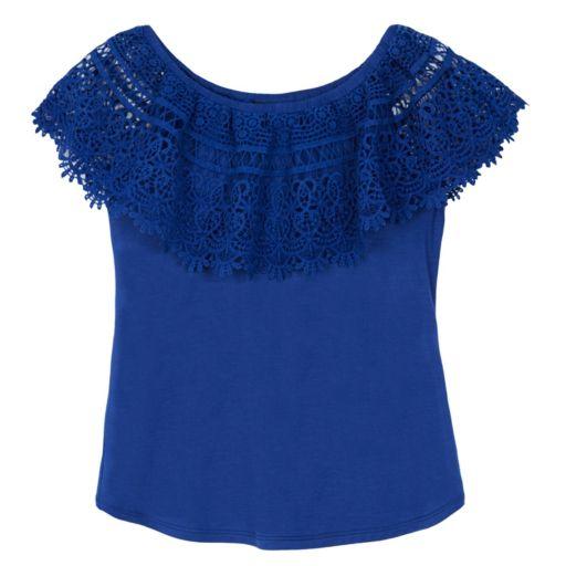 Girls 7-16 IZ Amy Byer Crochet Popover Peasant Top