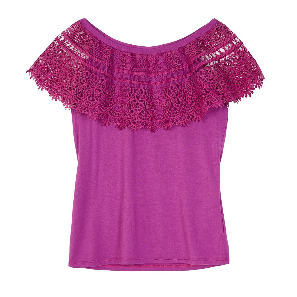 Girls 7-16 IZ Amy Byer Crochet Popover Peasant Top
