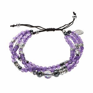 love this life Purple Agate Bead & Crystal Multi Strand Bracelet