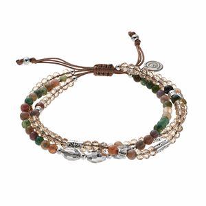 love this life Jasper Bead & Crystal Slipknot Bracelet Set