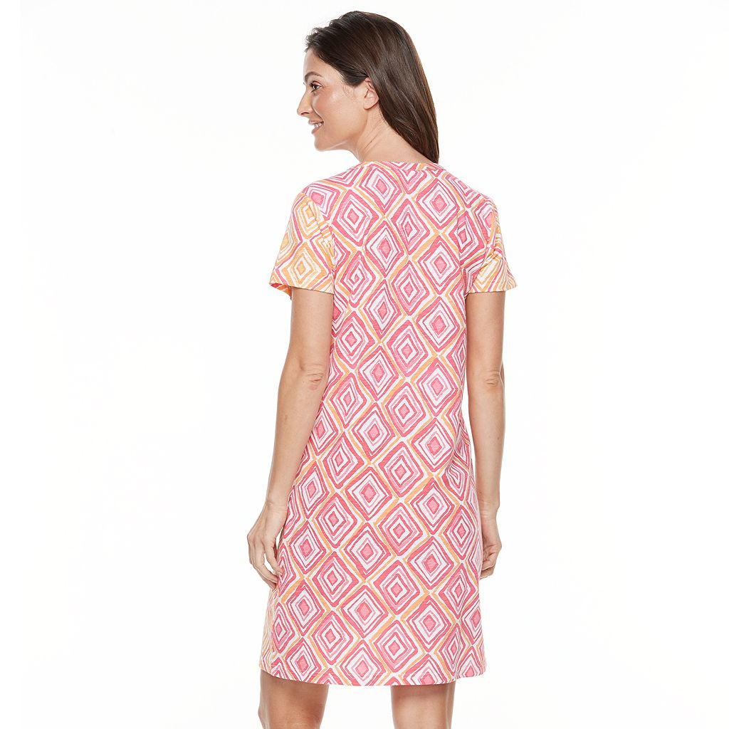 Women's Caribbean Joe Geometric T-Shirt Dress