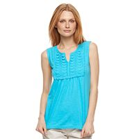 Women's Caribbean Joe Lace-Front Slubbed Tank
