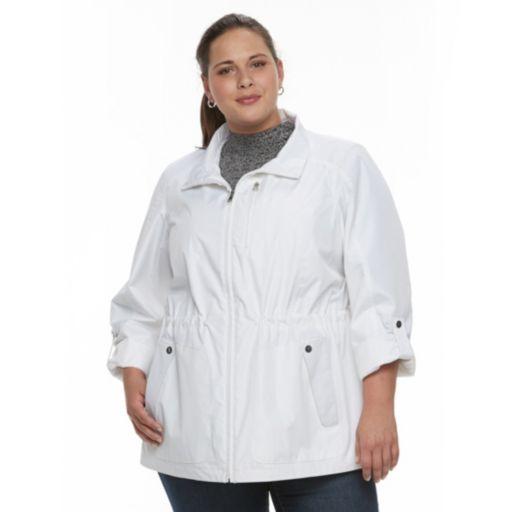 Plus Size Croft & Barrow® Hooded Roll-Tab Anorak Jacket