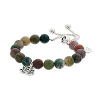 love this life Jasper Bead & Lotus Flower Charm Bolo Bracelet