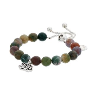love this life Jasper Bead & Lotus Flower Charm Bolo Bracelet