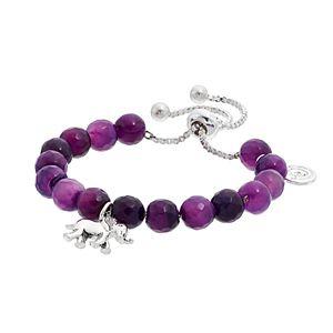 love this life Purple Agate Bead & Elephant Charm Bolo Bracelet