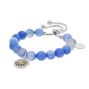 love this life Blue Agate Bead & Sun Charm Bolo Bracelet