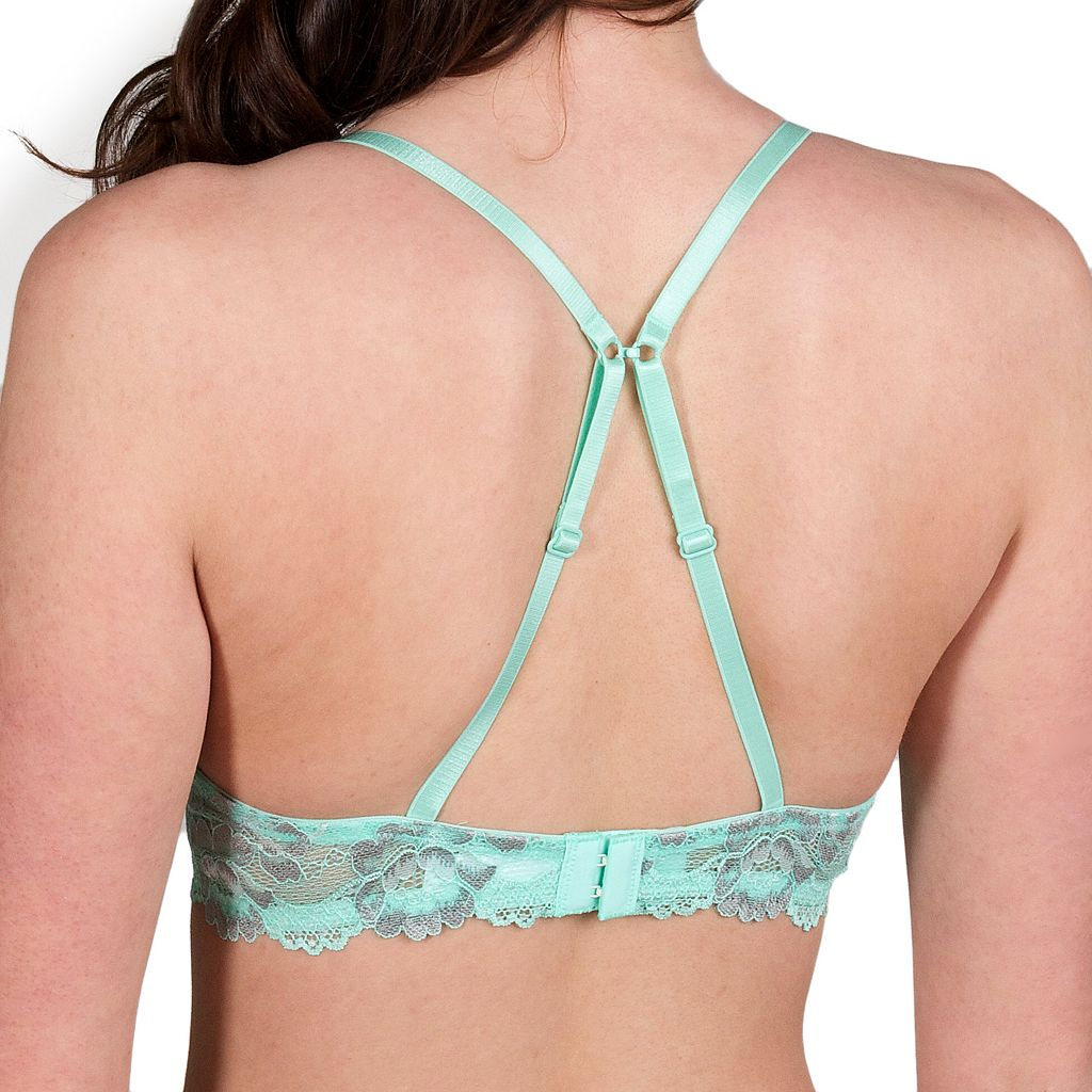 Juniors' Candie's® Bra: Cross-Dye Lace Push-Up Plunge Bra