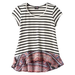 Girls Plus Size Ransom Girl Knit & Woven Striped Tee