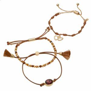 love this life Crystal Bead & Heart Charm Slipknot Bracelet Set