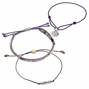 love this life Purple Crystal & Amazonite Bead Compass Charm Slipknot Bracelet Set