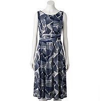 Women's Perceptions Ruched Leaf A-Line Dress