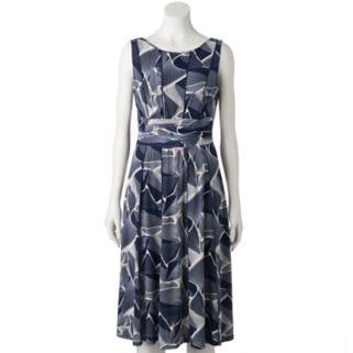 Women's Perceptions Ruched Leaf A-Line Dress