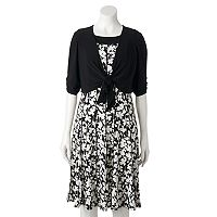 Women's Perceptions Floral A-Line Dress & Cardigan Set