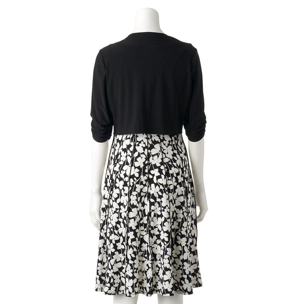 Women's Perceptions Floral A-Line Dress & Cardigan Set