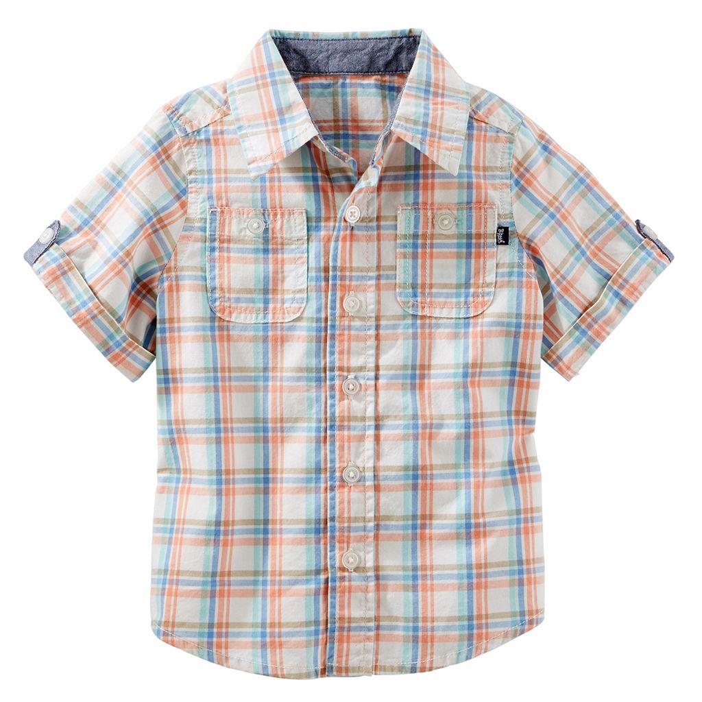 Baby Boy OshKosh B'gosh® Short Sleeve Roll-Tab Plaid Button-Down Shirt