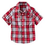 Toddler Boy OshKosh B'gosh® Short Sleeve Roll-Tab Plaid Button-Down Shirt