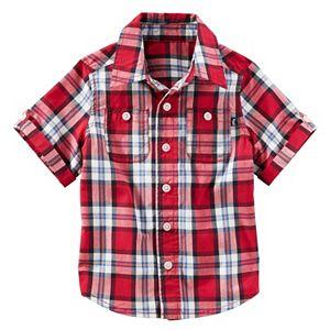 Toddler Boy OshKosh B'gosh® Short Sleeve Roll-Tab Plaid Button-Down Shirt