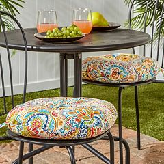Greendale Home Fashions 2-pack 15 in Round Outdoor Bistro Chair Cushion