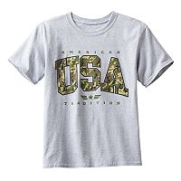 Boys 8-20 Camouflage USA Tee
