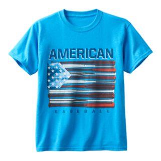 Boys 8-20 American Flag Baseball Bat Tee