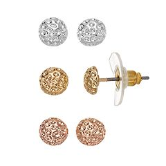 Stippled Dome Stud Earring Set