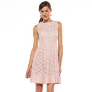 Women's Jessica Howard Lace Pleated A-Line Dress