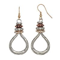 Tri Tone Rondelle Nickel Free Teardrop Earrings