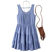 Girls 7-16 Knitworks Crochet Front Tiered Solid Dress with Crossbody Purse