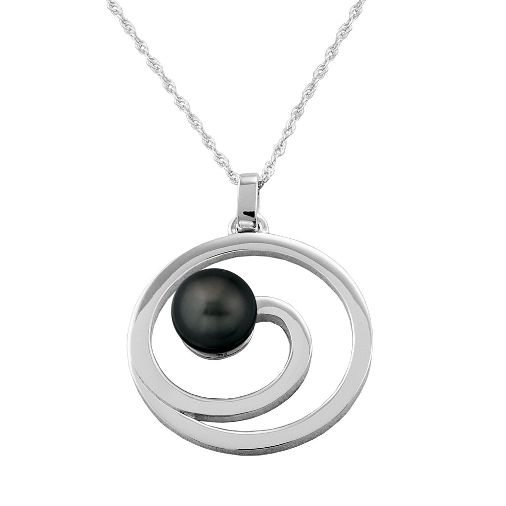 Sterling Silver Swirl Tahitian Black-Colored Cultured Pearl Pendant