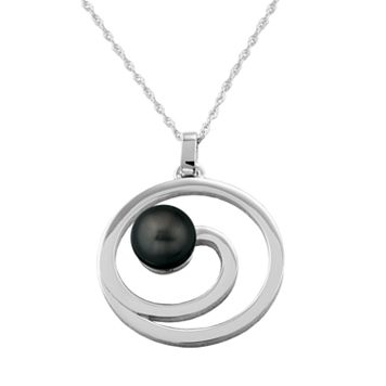 Sterling Silver Swirl Tahitian Black-Colored Cultured Pearl Pendant