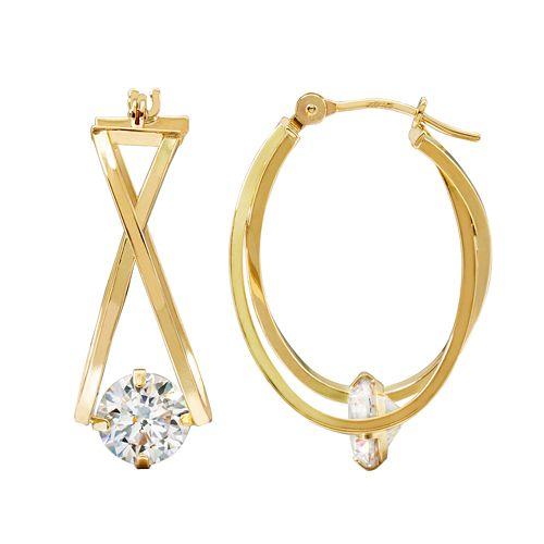 10k Gold Cubic Zirconia Crisscross Hoop Earrings
