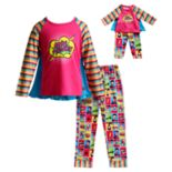 Girls 4-14 Dollie & Me Superhero Top & Bottoms Pajama Set
