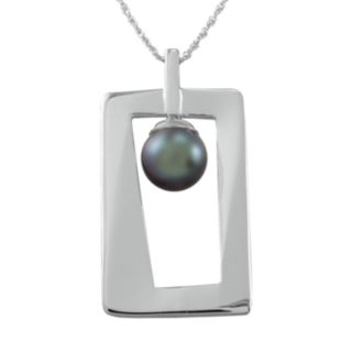 Sterling Silver Dyed Freshwater Cultured Pearl Rectangle Pendant