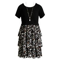 Girls 7-16 Emily West Cheetah Print Tiered Skirt Dress with Necklace