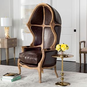 Safavieh Couture Sabine Leather & Wood Accent Chair