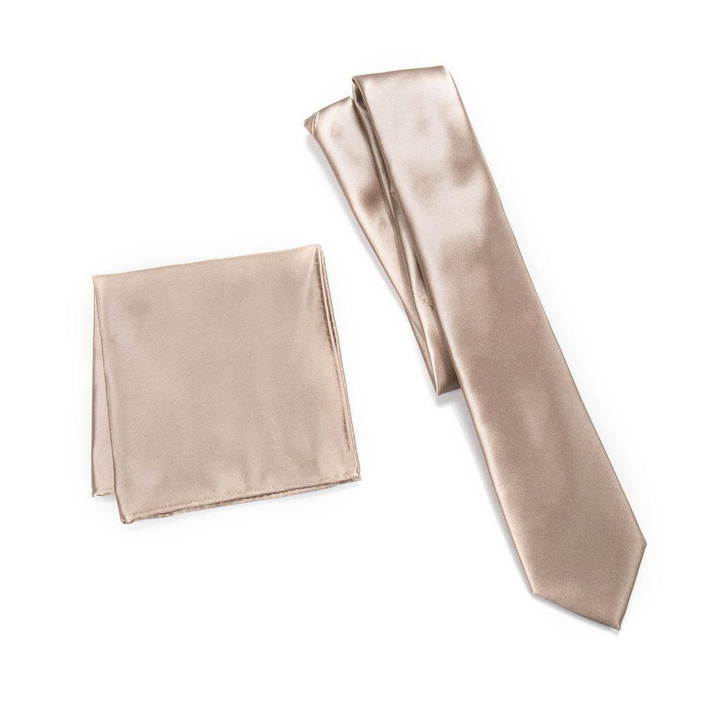 Men's Apt. 9® Solid Skinny Tie & Solid Pocket Square Set