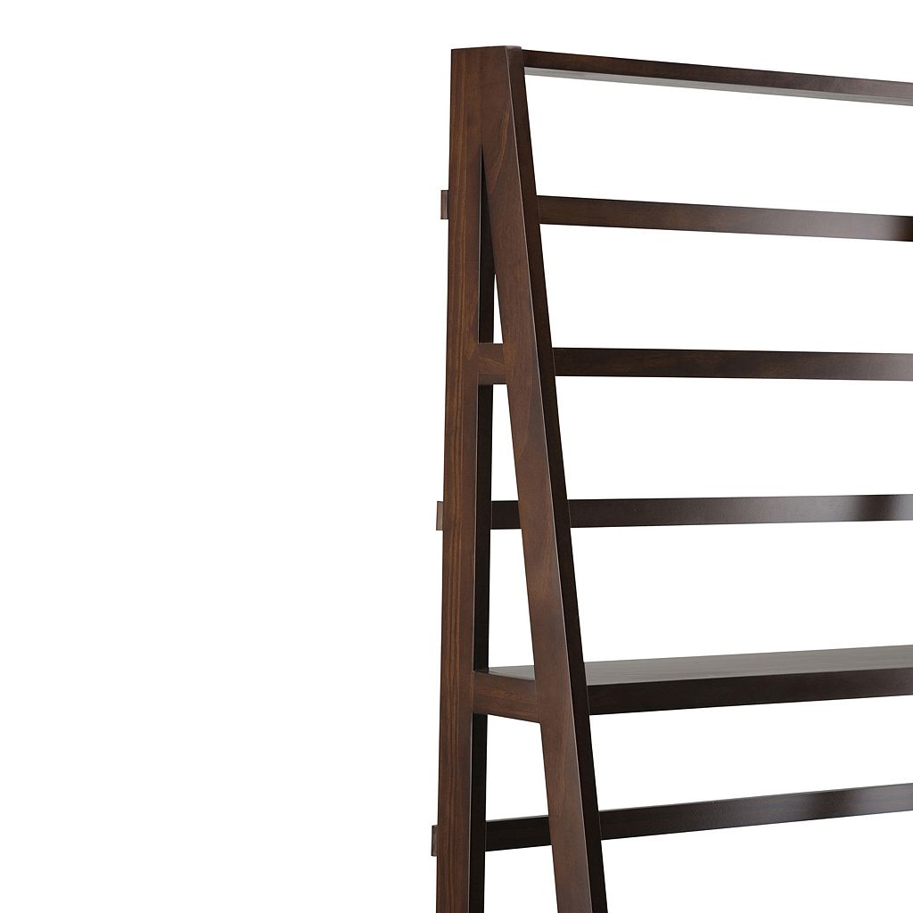 Simpli Home Acadian Wide Ladder Bookshelf