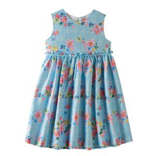 Girls 4-6x Blueberi Boulevard Printed Lace Cut-Out Back Dress