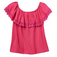 Girls 7-16 Cloud Chaser Off Shoulder Waffle Thermal Popover Top