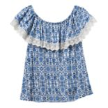 Girls 7-16 Cloud Chaser Off Shoulder Floral Popover Top