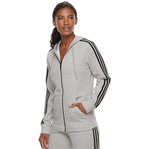 Women s adidas Essential Fleece 3 Stripe Zip-Up Hoodie acd9e05b9d65