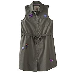 Girls 7-16 & Plus Size SO® Olive Sleeveless Patch Applique Shirt Dress