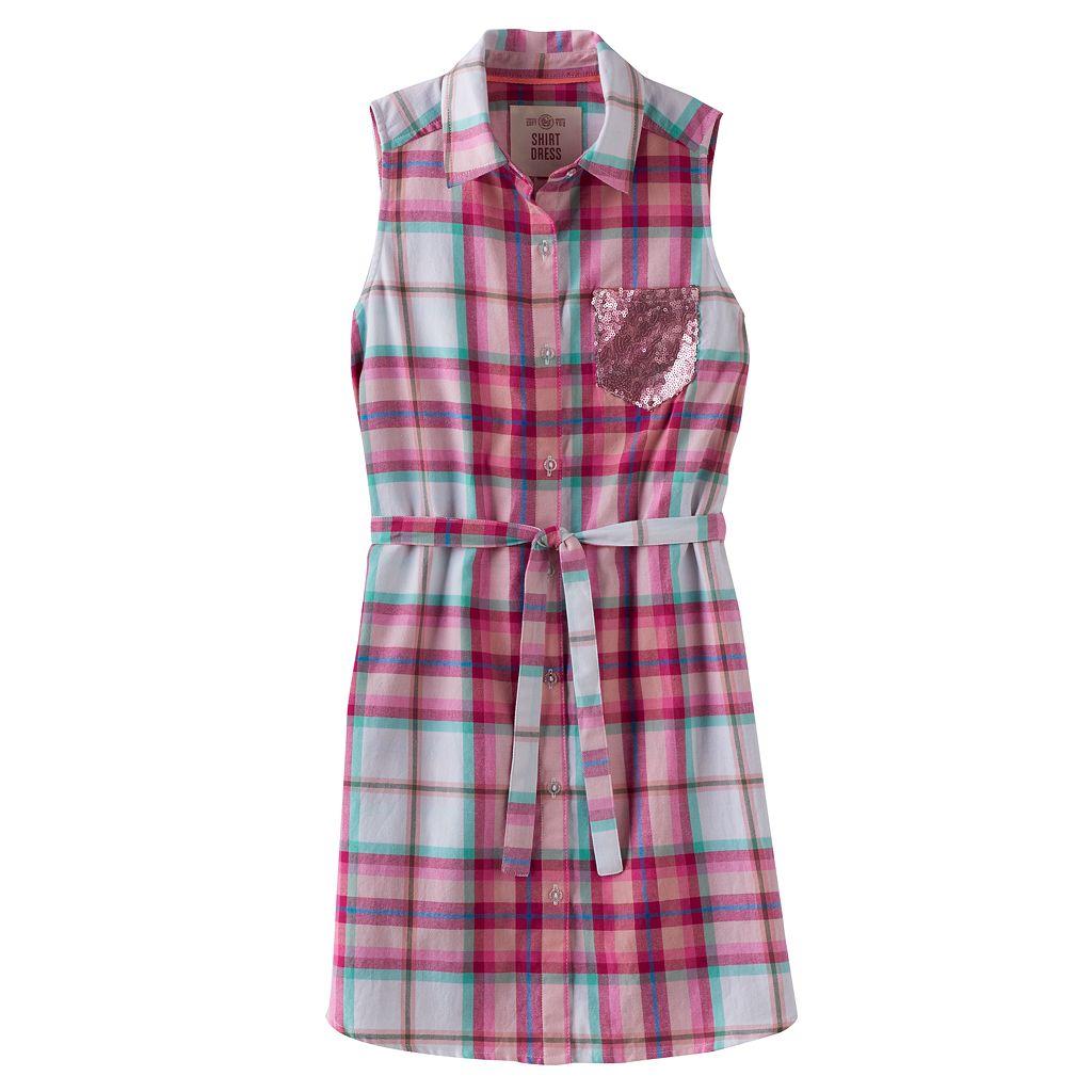 Girls 7-16 & Plus Size SO® Plaid Sleeveless Shirt Dress
