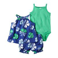 Baby Girl Carter's Floral Tank Top, Bubble Shorts & Polka-dot Bodysuit Set