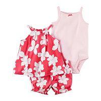 Baby Girl Carter's Floral Tank Top, Bubble Shorts & Polka-dot Bodysuit Set