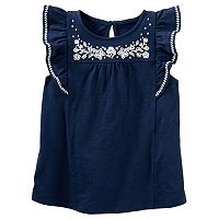 Toddler Girl Carter's Embroidered Flounce Top