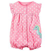 Baby Girl Carter's Polka-Dot Animal Applique Romper