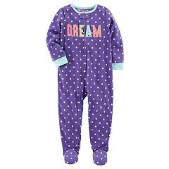 Baby Girl Carter's 'Dream' Dotted Fleece Sleep & Play