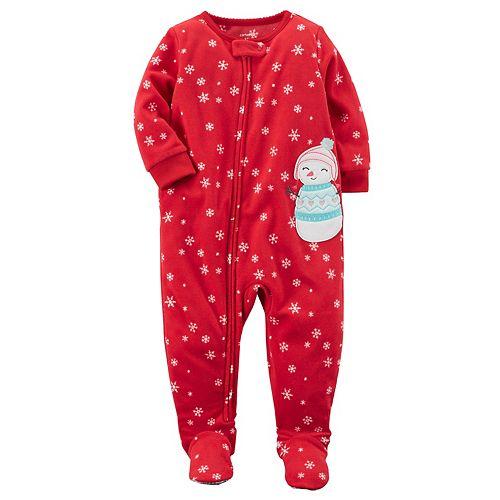 a54960874 Toddler Girl Carter s Snowman Applique Snowflake Fleece Footed Pajamas